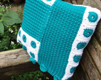 Turquoise Crochet Colour block Cushion