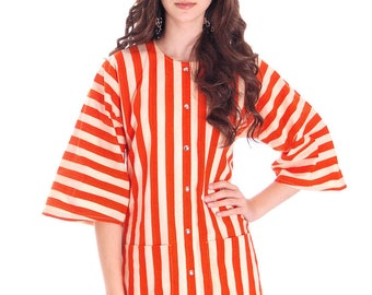 Vintage Vuokko Finland Womens Striped Coat Top Orange & White 36/6 100% Cotton
