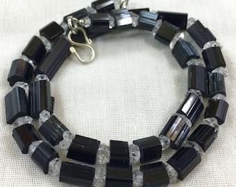 1 Strand Black Tourmaline With Herkimar Quartz @IRS20