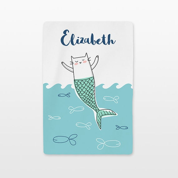 Cat Mermaid Personalized Baby Blanket Custom Name Baby Girl Throw Minky Soft Fleece Kids New Baby Gift Idea Ocean Nursery Cute White Aqua