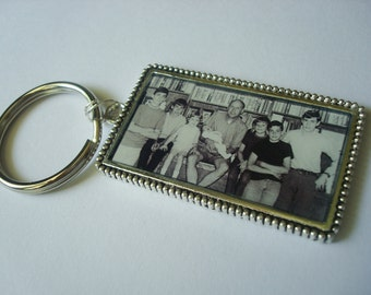Custom Photo Keychain or Pendant in Ornate Antique Silver