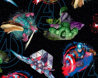 NEW!  Marvel Comics Avengers Toss Cotton Fabric by the yard
