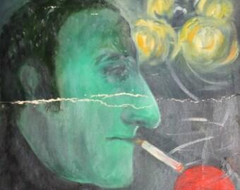 Vintage oil painting smoking man portait signed