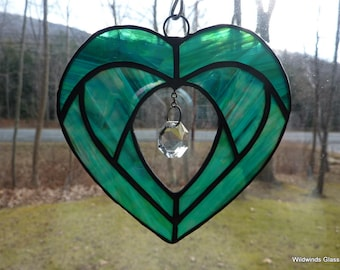 Green Heart in Stained Glass