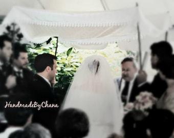 Ivory Chuppah with Lace Edge, Hand-held Chuppah for Jewish Wedding, Venetian Lace Huppah, Chuppa, Huppa, Wedding Canopy