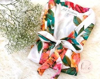 Satin Floral Robe, Bridesmaid Robes, Bridesmaid Gifts, Bridal Robe, Bridesmaid Gifts, Getting Ready Robe