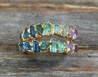 Raw tourmaline ring / Gold tourmaline ring / Watermelon tourmaline ring / Rainbow ring / Raw gemstone ring / Gift for her  / ptomise ring