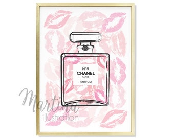 Chanel Perfume poster artwork Bloom Kiss Macarons Stylish Fashion Illustration Art Print Gift Wall Art Decor