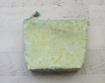 Gold make up bag - mint make up bag - floral makeup bag - mint cosmetics pouch - gold clutch - floral clutch - mint bridesmaid bag - clutch