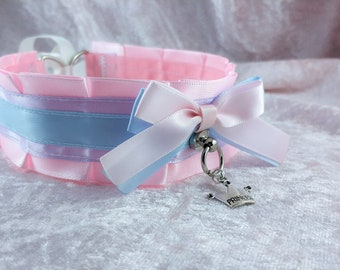 "14.5"" // Pastel pink purple blue pet play ddlg collar"