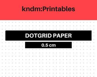 KNDM:Printables, Dot Grids, 0.5cm, bujo, bullet journal, journal, handwritten, planner, diy.
