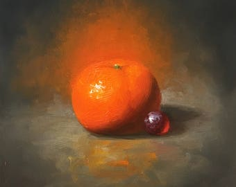 Tangerine and Grape. Original Oil Painting. Small Artwork. Kitchen decor. Small oil painting. Gift for. Wall decor. Free shipping in US
