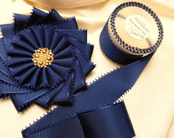 Navy Blue Pinwheel Cocarde Topaz Button Ribbonwork
