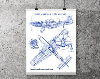 P 51 mustang aircraft blueprint instant download chalkboard p51 mustang art instant download north american mustang p51 mustang art p malvernweather Choice Image