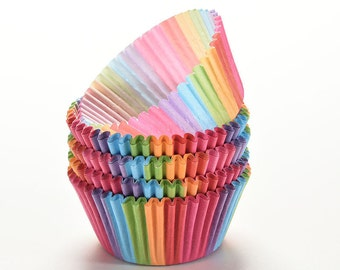 Lot of 300 pcs cupcake liner baking cup cupcake paper muffin cases Cup tray cake mold decorating tools Bright Rainbow color