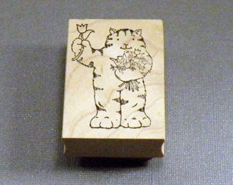 Rubber Stamp Cat with Flowers