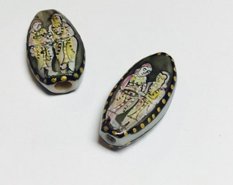 Hand Painted Glass Bead - 2 Pieces - #139
