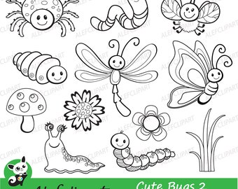 50% OFF SALE  Bugs clipart, Cute Bugs - Clipart coloring , Clipart  Set Stamps