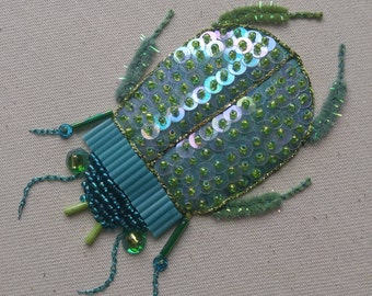 The Magic Beetle - One Of A Kind Hand Embroidered and Embellished Textile Art
