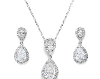 Wedding jewelry set bridal crystal teardrop silver jewellery set pendant necklace drop earrings vintage style bridal necklace