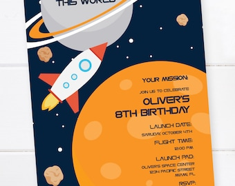 Space Invitation, Outer Space Birthday, Space Birthday Party, Rocket Birthday, Space Party, Planet Birthday Invitation, Space Birthday