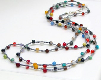 Mixed Gemstone and Gray Silk Crocheted Chain, Multi Color Beaded Long Silk Necklace, Bohemian Layering Chain, Bright Stones, Hippie Fashion