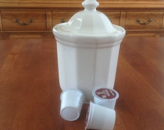 """Pfaltzgraff HERITAGE White 6-1/8"""" Canister and Lid - Kitchen Container"""