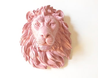 DUSTY ROSE, LARGE Lion Head, Faux Taxidermy, Faux Taxidermy Lion, Faux Animal Head, Safari Wall Decor, Pink Lion, Pink Animal Head, Kids Rm