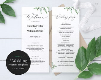 Wedding Program Template, Aurora, Floral Wedding Program, Printable PDF Program, PDF Template, Watercolor, Greenery Wedding, Editable PDF