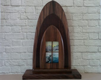 """Original Miniature Painting, """"A Room With a View"""", Acrylic on Canvas, Custom Freestanding Exotic Hardwood Frame"""