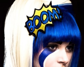 Headband BOOM Comic Style , Cartoon, Comic Book, Yellow and Royal Blue- Black FRiday Cyber Monday