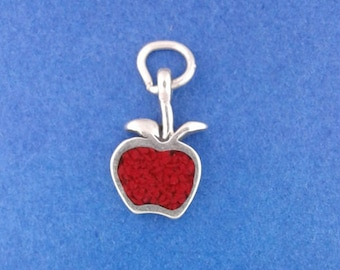 Red APPLE Charm .925 Sterling Silver Fruit, Teacher Gift Miniature - elp1734c