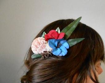 Tropical tiki alligator hair clip pin up red blue flower seashell summer mermaid accessory