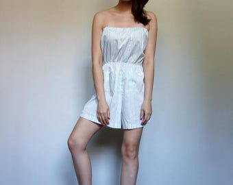 Summer Playsuit White Romper Pastel Strapless One Piece Jumpsuit Shorts Vintage 80s Striped Beach Outfit Onesie - Large L