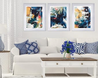 SET OF 3 Canvas Art Abstract Print Wall Art, Large Wall Art, Blue Abstract Print Large Abstract Art Print from Painting Modern Abstract Art