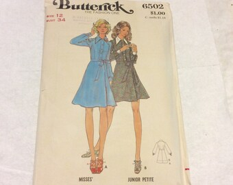 1970's Butterick misses dress size 12 sewing pattern 6502.