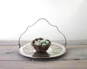 Vintage Silver Plate Serving Tray with Handle Silver Basket
