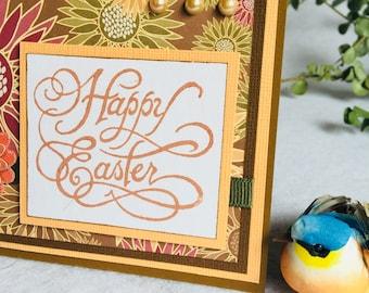 Handmade Greeting Card, Happy Easter, classic, scrolls, pearls