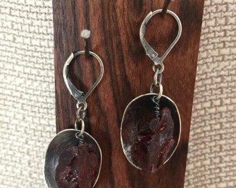 Raw silver and rough Garnet dangle earrings oxidized patina lever back