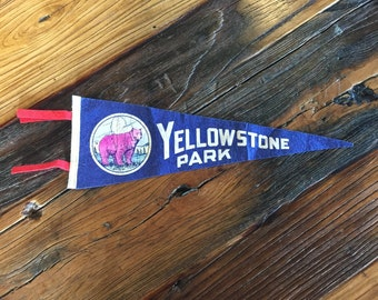 Yellowstone National Park Navy Blue Felt Pennant Wall Hanging Decor