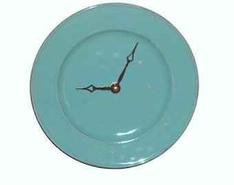 Modern Wall Clock / 8-3/4 Inch Stoneware Plate Clock / Wall Decor / Kitchen Clock/ Kitchen Decor / Teal Home Decor / Turquoise Clock 1770