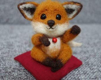 Needle felted lucky fox doll.wool.glass eyes.bell.leather.fabric.gift.present.figurine.fortune.handmade.red brown.white.animal.9 cm