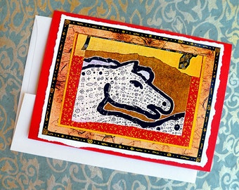 Epona Hand Made Blank Card, Archival Reproduction of an original collage.