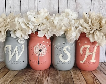 WISH Mason Jars, Dandelion wishes, Set of 4 pint size Mason jars, Shabby Chic decor, Rustic Home decor, Farmhouse, Housewarming gift