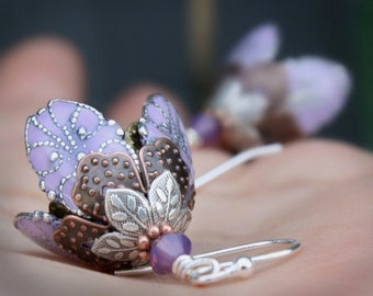 Flower, Dangle earrings purple lavender romantic silver filigree