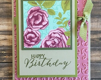 Birthday Card; Stampin' Up! Card; Handmade Card; Greeting Card; Petal Garden Card; Happy Birthday Card