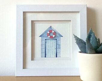 Beach hut,nautical,seaside,shed,nursery art,nursery wall art,nursery decor,home decor,bedroom, bathroom decor, framed illustration