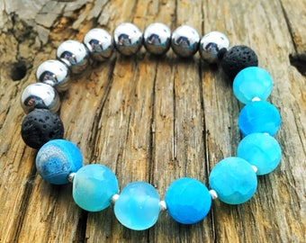 Stretchy Silver and Blue Lava Stone Bracelet - Essential Oil Diffuser Bracelet - Summer and Vacation Bracelet - Boho Bracelet