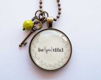 be{you}tiful Necklace - One Word Jewelry - Inspirational Pendant - Text Jewelry -  You Choose Bead and Charm - Christian Pendant