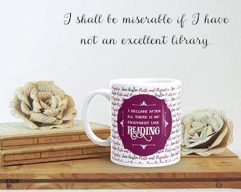 Bookish Gift for Her, Pride and Prejudice Quote, Jane Austen Mug, Literary Birthday, Jane Austen, Bookworm Gift for Her, Bookish Mug